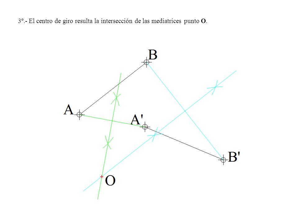 3º.- El centro de giro resulta la intersección de las mediatrices punto O.