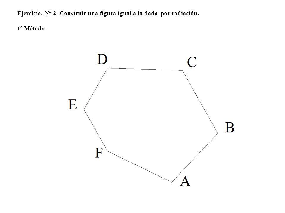 5º.- Llevamos la distancia a que existe entre 1 y 2, obteniendo el punto 2, por 2 trazamos una perpendicular.