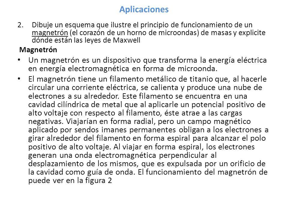 Aplicaciones 2.Dibuje un esquema que ilustre el principio de funcionamiento de un magnetrón (el corazón de un horno de microondas) de masas y explicite dónde están las leyes de Maxwell Magnetrón Un magnetrón es un dispositivo que transforma la energía eléctrica en energía electromagnética en forma de microonda.