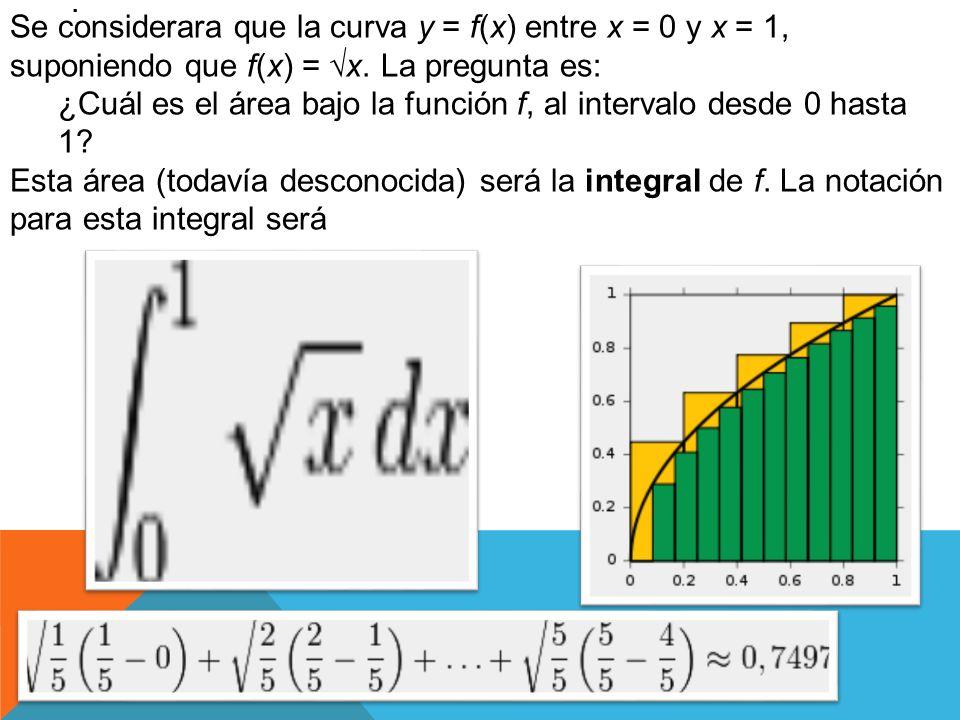 . Se considerara que la curva y = f(x) entre x = 0 y x = 1, suponiendo que f(x) = x. La pregunta es: ¿Cuál es el área bajo la función f, al intervalo
