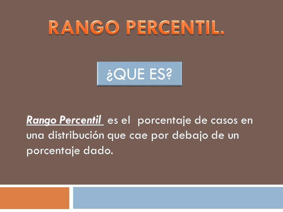 Rango Percentil es el porcentaje de casos en una distribución que cae por debajo de un porcentaje dado.