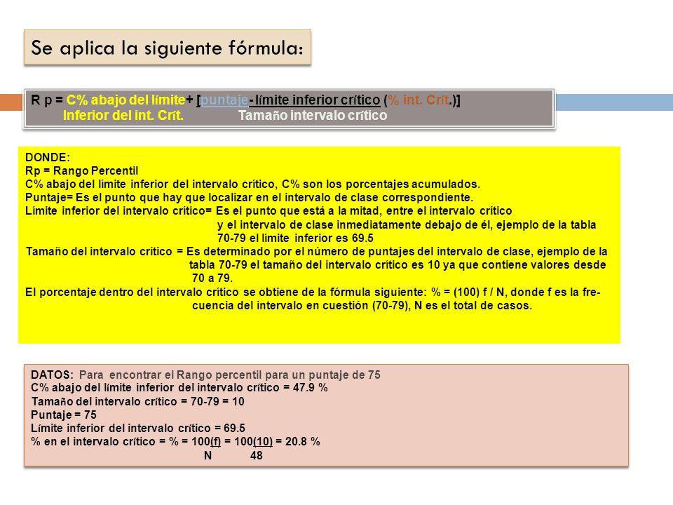 Se aplica la siguiente fórmula: R p = C% abajo del l í mite+ [puntaje- l í mite inferior cr í tico (% int.