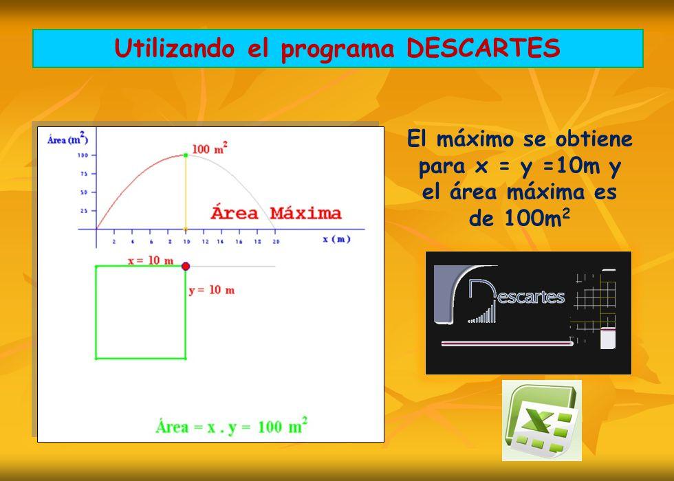 Utilizando el programa DESCARTES El máximo se obtiene para x = y =10m y el área máxima es de 100m 2
