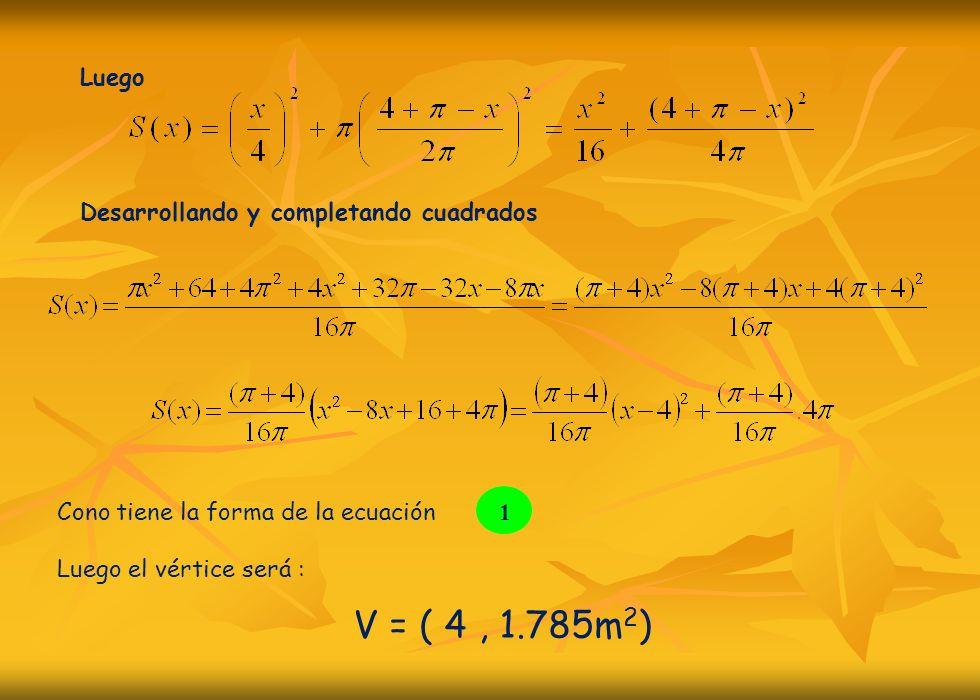 Luego Desarrollando y completando cuadrados Cono tiene la forma de la ecuación Luego el vértice será : 1 V = ( 4, 1.785m 2 )