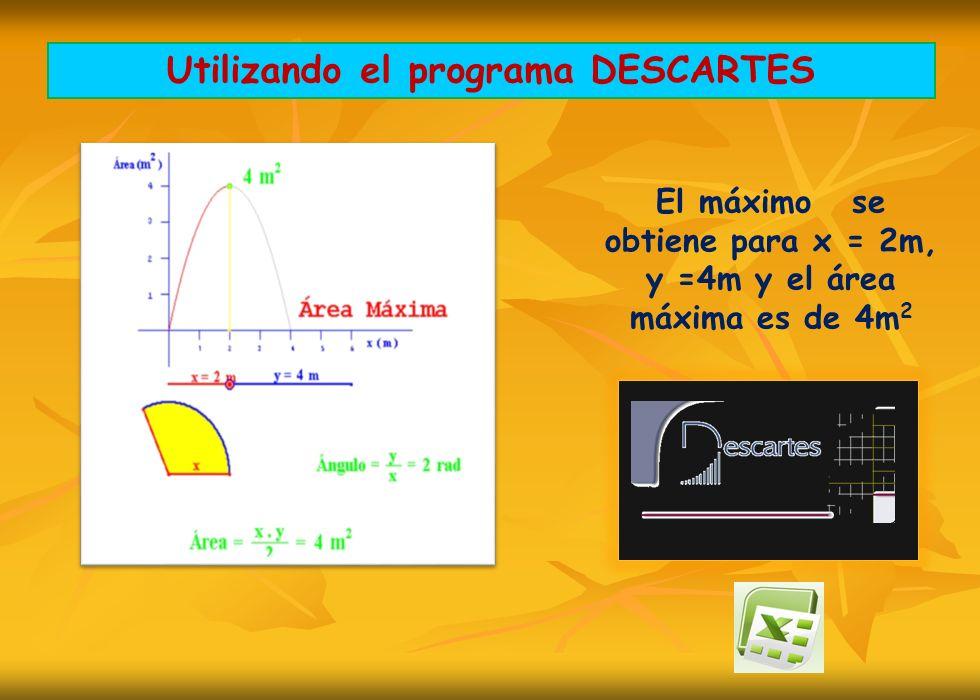 El máximo se obtiene para x = 2m, y =4m y el área máxima es de 4m 2 Utilizando el programa DESCARTES