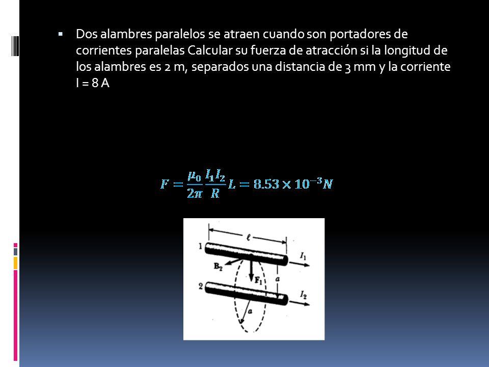 Dos alambres paralelos se atraen cuando son portadores de corrientes paralelas Calcular su fuerza de atracción si la longitud de los alambres es 2 m,
