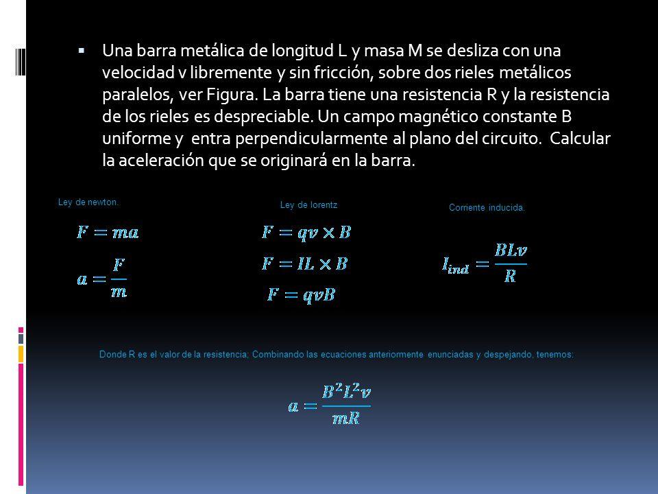 Una barra metálica de longitud L y masa M se desliza con una velocidad v libremente y sin fricción, sobre dos rieles metálicos paralelos, ver Figura.