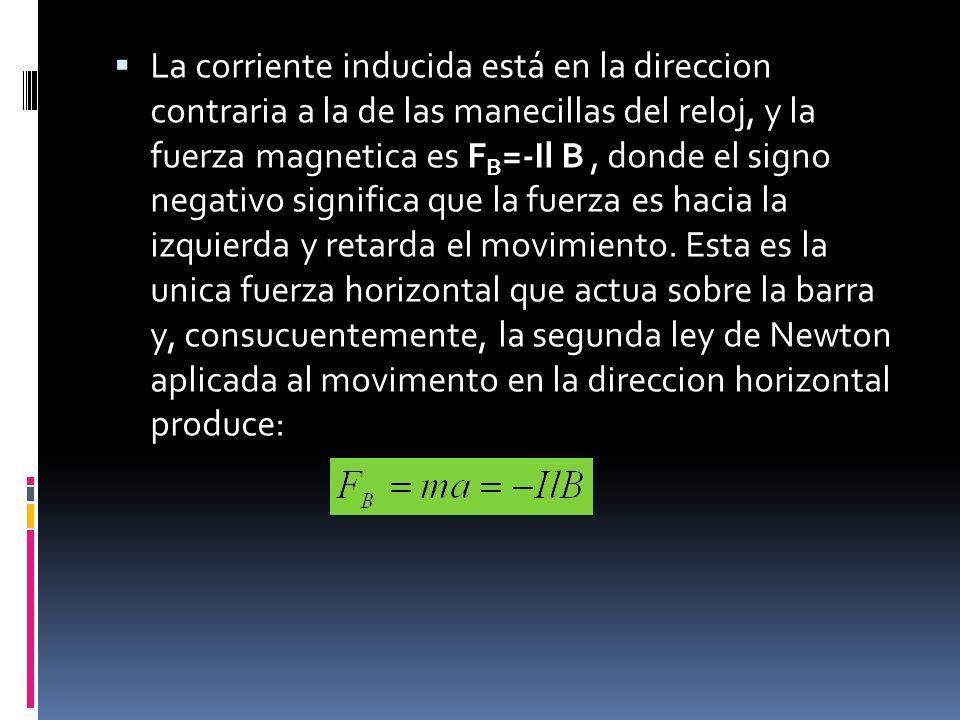 La corriente inducida está en la direccion contraria a la de las manecillas del reloj, y la fuerza magnetica es F B =-Il B, donde el signo negativo si