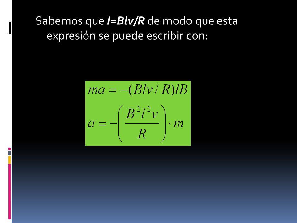 Sabemos que I=Blv/R de modo que esta expresión se puede escribir con: