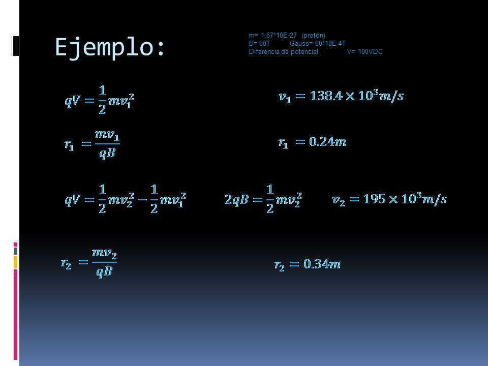 Ejemplo: m= 1.67*10E-27 (protón) B= 60T Gauss= 60*10E-4T Diferencia de potencial V= 100VDC