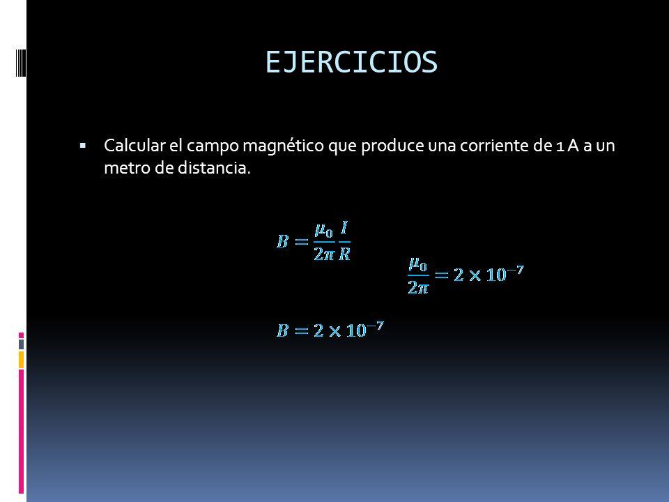 EJERCICIOS Calcular el campo magnético que produce una corriente de 1 A a un metro de distancia.