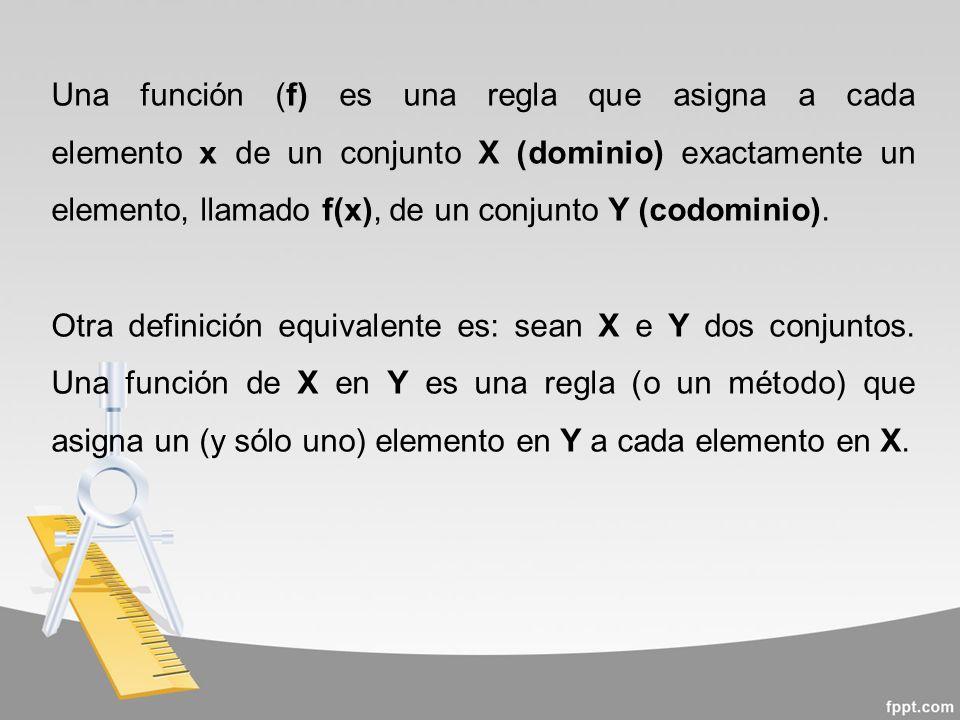 Una función (f) es una regla que asigna a cada elemento x de un conjunto X (dominio) exactamente un elemento, llamado f(x), de un conjunto Y (codominio).