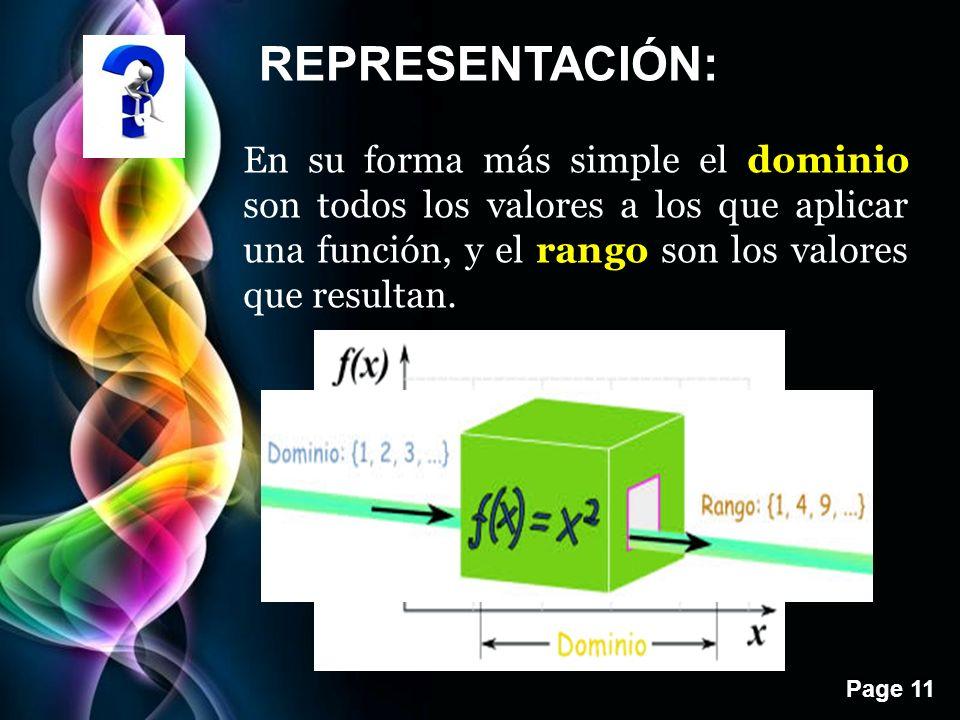 Page 11 REPRESENTACIÓN: En su forma más simple el dominio son todos los valores a los que aplicar una función, y el rango son los valores que resultan.