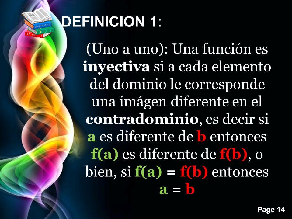 Page 14 DEFINICION 1: (Uno a uno): Una función es inyectiva si a cada elemento del dominio le corresponde una imágen diferente en el contradominio, es decir si a es diferente de b entonces f(a) es diferente de f(b), o bien, si f(a) = f(b) entonces a = b