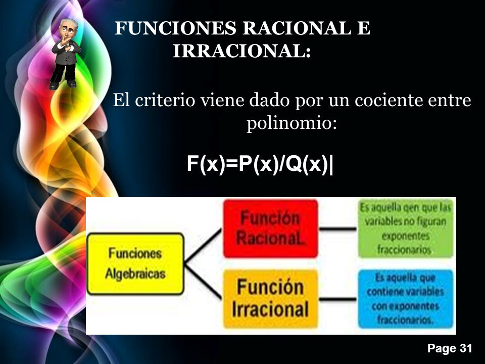 Page 31 FUNCIONES RACIONAL E IRRACIONAL: El criterio viene dado por un cociente entre polinomio: F(x)=P(x)/Q(x)|
