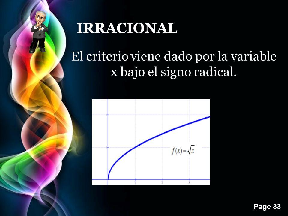 Page 33 IRRACIONAL El criterio viene dado por la variable x bajo el signo radical.