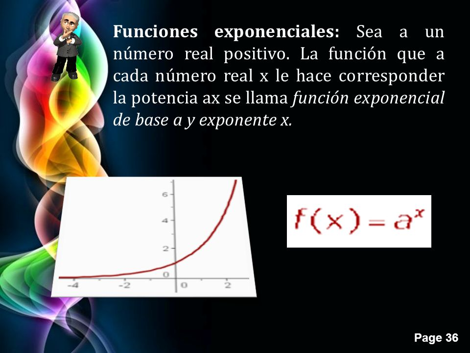 Page 36 Funciones exponenciales: Sea a un número real positivo.