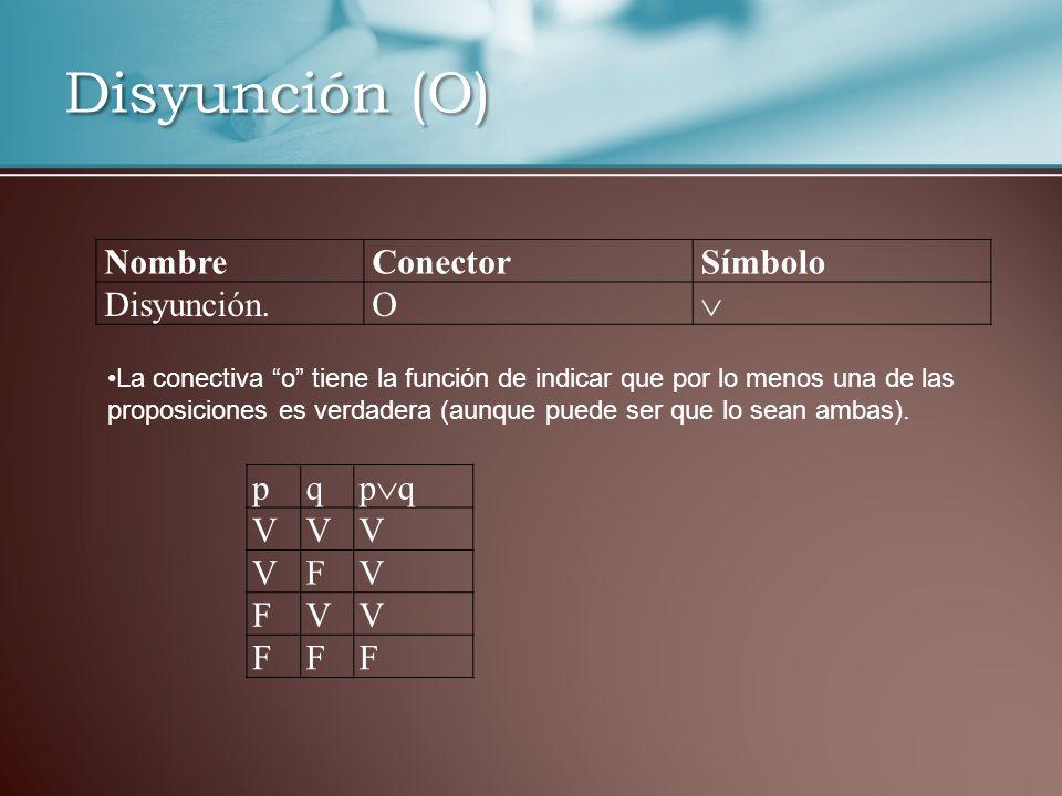 Disyunción (O) NombreConectorSímbolo Disyunción.O La conectiva o tiene la función de indicar que por lo menos una de las proposiciones es verdadera (aunque puede ser que lo sean ambas).