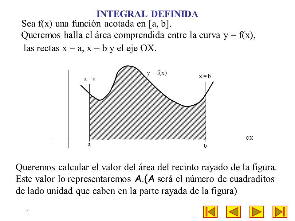 1 INTEGRAL DEFINIDA Queremos halla el área comprendida entre la curva y = f(x), x = a x = b OX a b Queremos calcular el valor del área del recinto ray