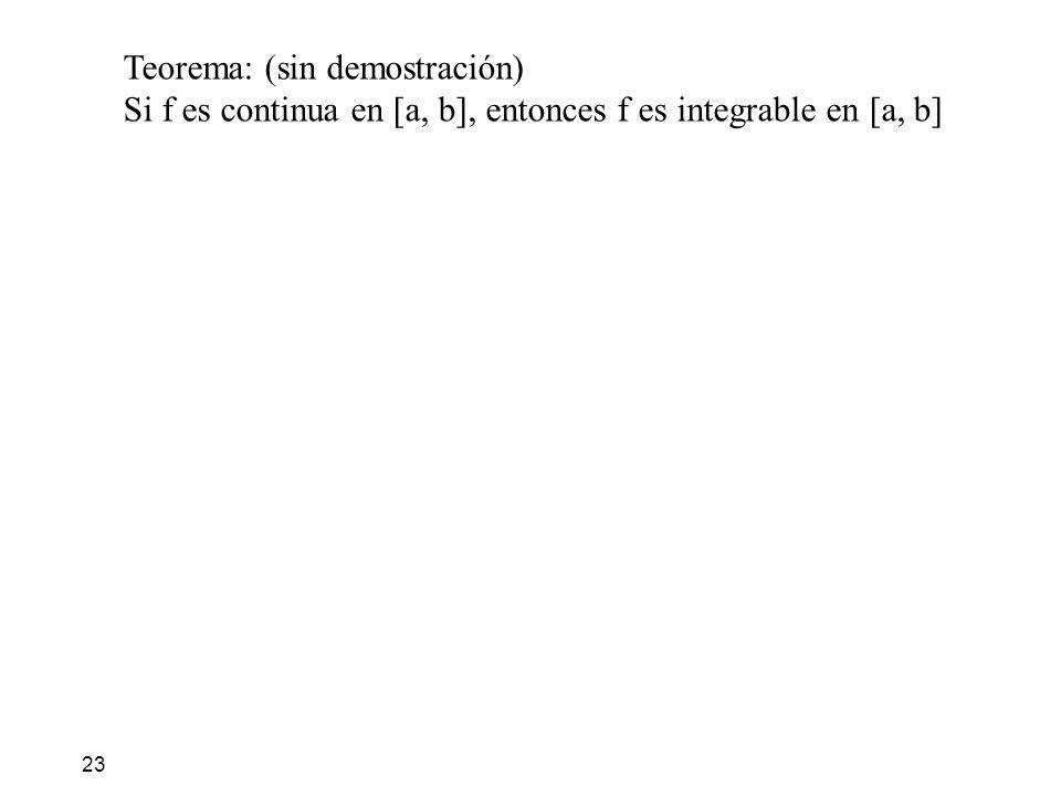 23 Teorema: (sin demostración) Si f es continua en [a, b], entonces f es integrable en [a, b]