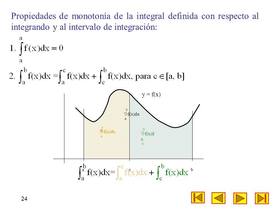 24 Propiedades de monotonía de la integral definida con respecto al integrando y al intervalo de integración: c f(x)dx a a c b b f(x)d x c b f(x)dx a