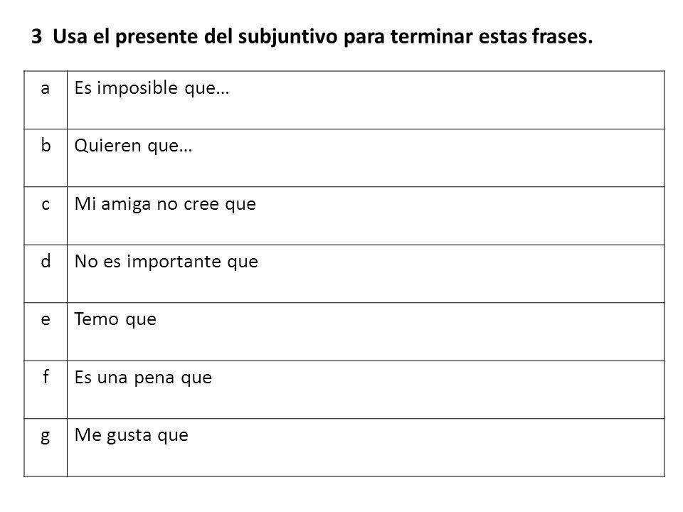El subjuntivo aEspero que tus alumnos __________ (tener) éxito en los exámenes.