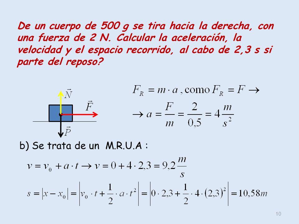 De un cuerpo de 500 g se tira hacia la derecha, con una fuerza de 2 N. Calcular la aceleración, la velocidad y el espacio recorrido, al cabo de 2,3 s