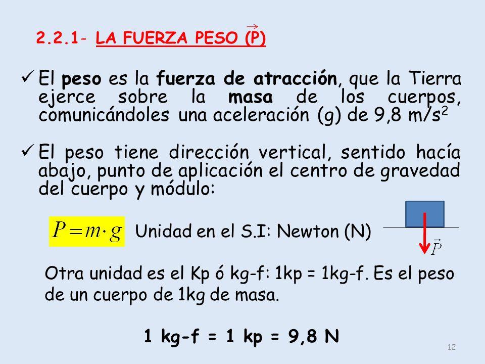 2.2.1- LA FUERZA PESO (P) El peso es la fuerza de atracción, que la Tierra ejerce sobre la masa de los cuerpos, comunicándoles una aceleración (g) de