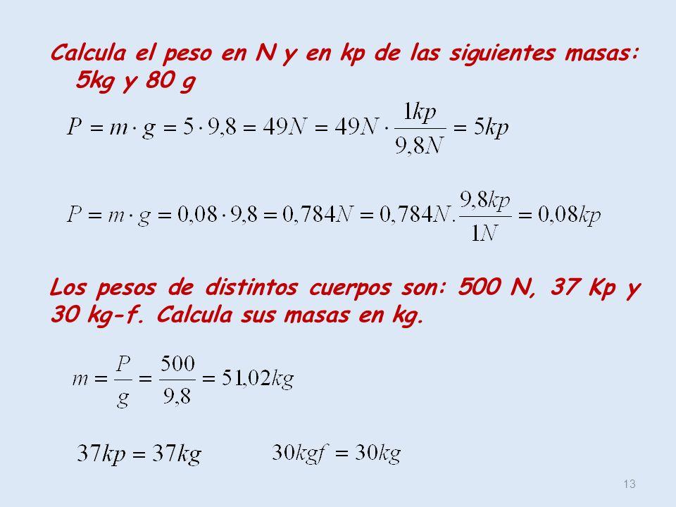 13 Calcula el peso en N y en kp de las siguientes masas: 5kg y 80 g Los pesos de distintos cuerpos son: 500 N, 37 Kp y 30 kg-f. Calcula sus masas en k