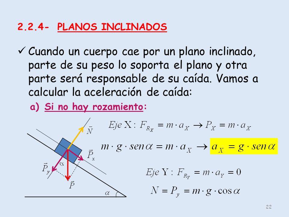 2.2.4- PLANOS INCLINADOS Cuando un cuerpo cae por un plano inclinado, parte de su peso lo soporta el plano y otra parte será responsable de su caída.