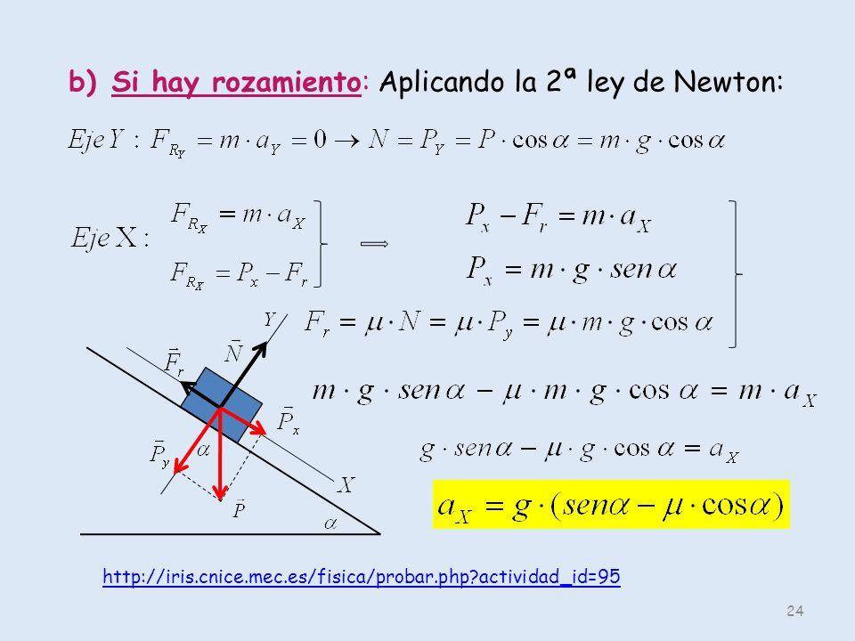 24 b)Si hay rozamiento: Aplicando la 2ª ley de Newton: http://iris.cnice.mec.es/fisica/probar.php?actividad_id=95