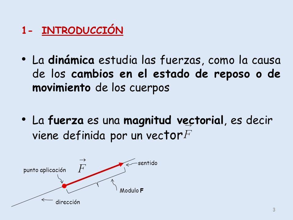 1- INTRODUCCIÓN La dinámica estudia las fuerzas, como la causa de los cambios en el estado de reposo o de movimiento de los cuerpos La fuerza es una m