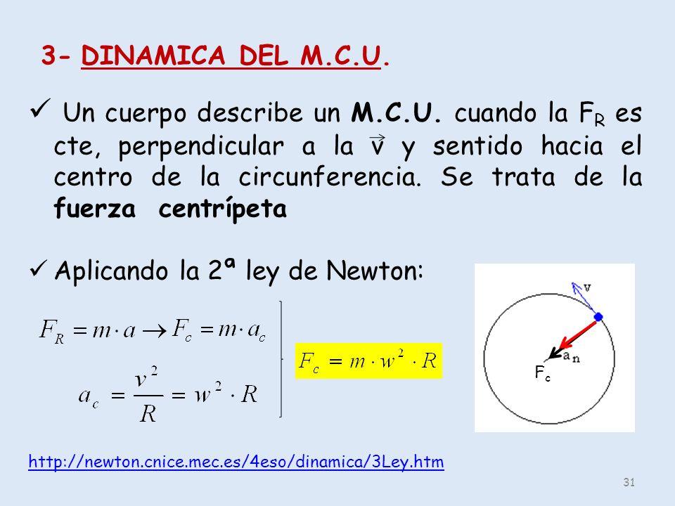 3- DINAMICA DEL M.C.U. Un cuerpo describe un M.C.U. cuando la F R es cte, perpendicular a la v y sentido hacia el centro de la circunferencia. Se trat