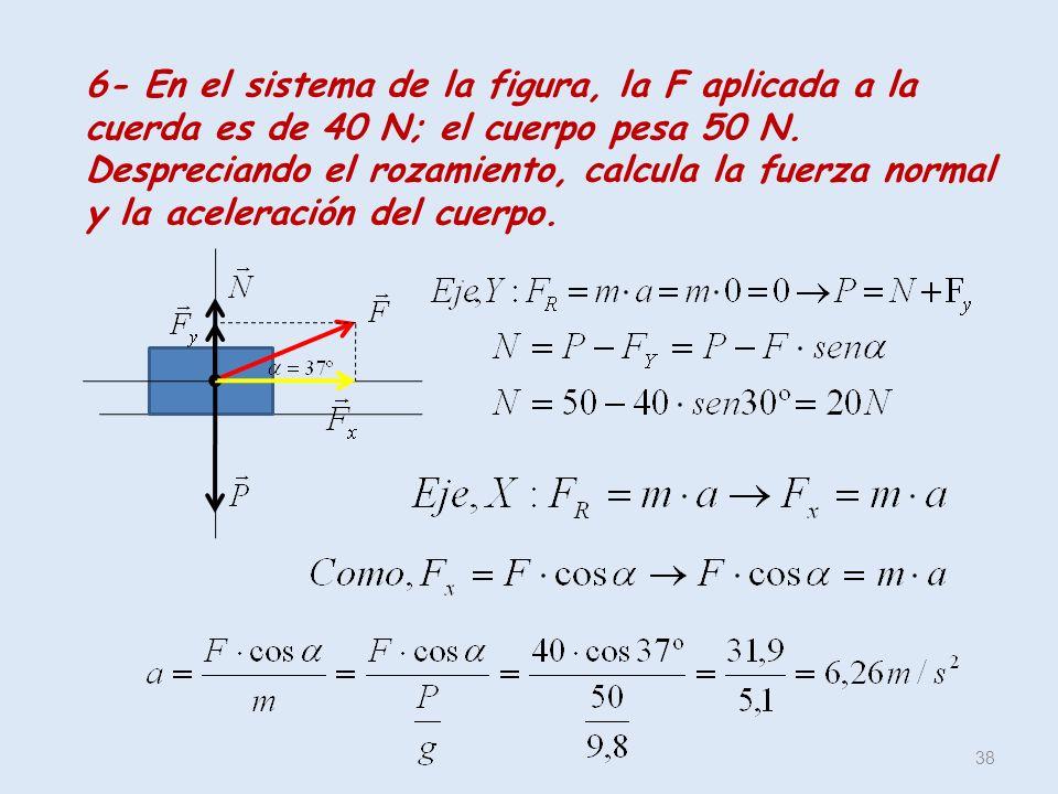 38 6- En el sistema de la figura, la F aplicada a la cuerda es de 40 N; el cuerpo pesa 50 N. Despreciando el rozamiento, calcula la fuerza normal y la