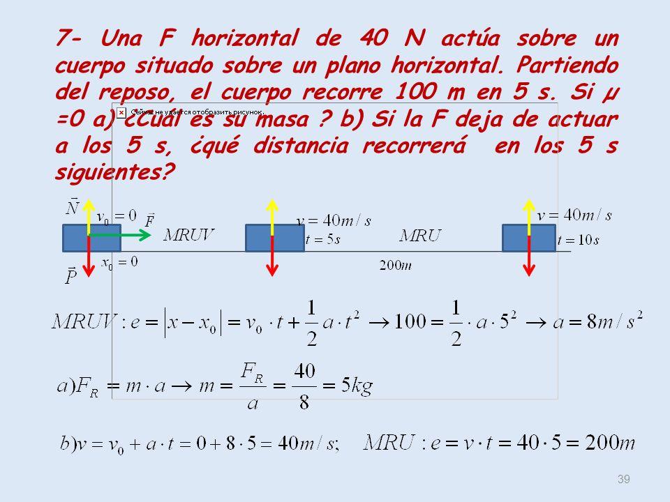 39 7- Una F horizontal de 40 N actúa sobre un cuerpo situado sobre un plano horizontal. Partiendo del reposo, el cuerpo recorre 100 m en 5 s. Si µ =0