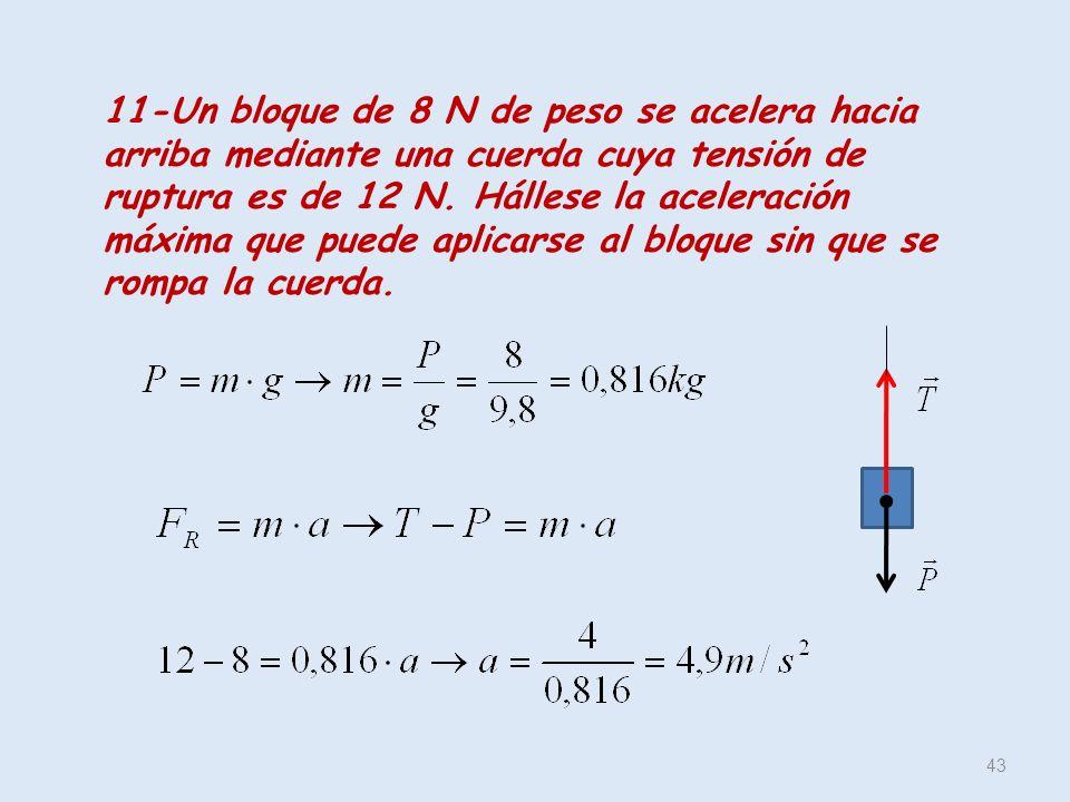 43 11-Un bloque de 8 N de peso se acelera hacia arriba mediante una cuerda cuya tensión de ruptura es de 12 N. Hállese la aceleración máxima que puede