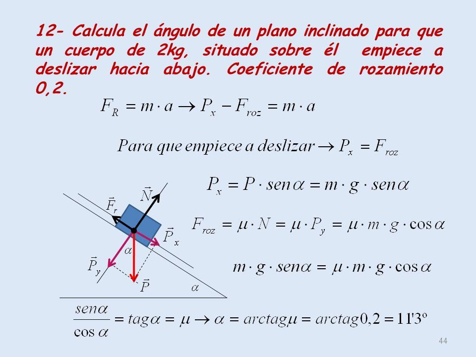 44 12- Calcula el ángulo de un plano inclinado para que un cuerpo de 2kg, situado sobre él empiece a deslizar hacia abajo. Coeficiente de rozamiento 0