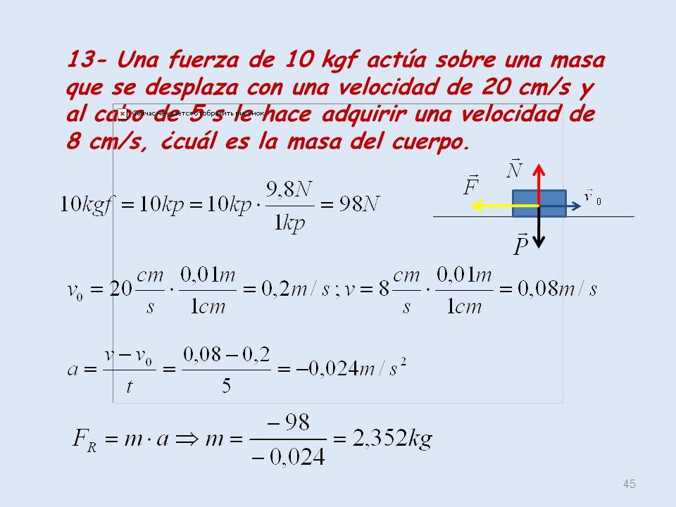 45 13- Una fuerza de 10 kgf actúa sobre una masa que se desplaza con una velocidad de 20 cm/s y al cabo de 5 s le hace adquirir una velocidad de 8 cm/