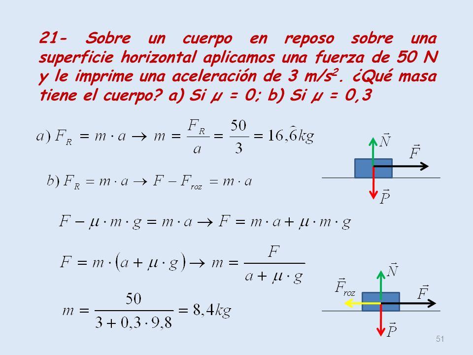 51 21- Sobre un cuerpo en reposo sobre una superficie horizontal aplicamos una fuerza de 50 N y le imprime una aceleración de 3 m/s 2. ¿Qué masa tiene