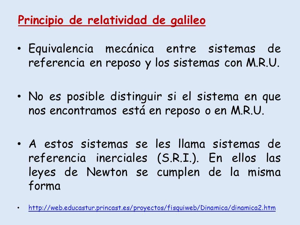 Principio de relatividad de galileo Equivalencia mecánica entre sistemas de referencia en reposo y los sistemas con M.R.U. No es posible distinguir si