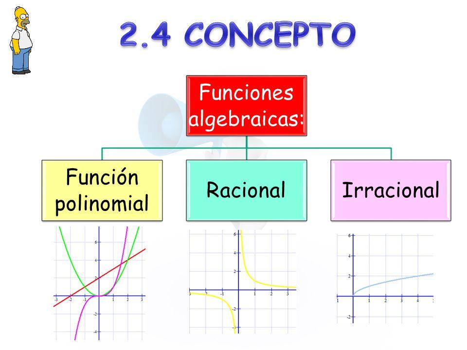 Funciones algebraicas: Función polinomial RacionalIrracional