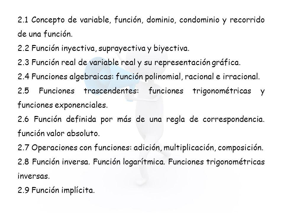 2.1 Concepto de variable, función, dominio, condominio y recorrido de una función. 2.2 Función inyectiva, suprayectiva y biyectiva. 2.3 Función real d