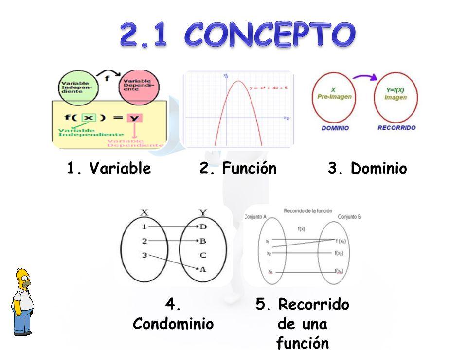 1. Variable2. Función3. Dominio 4. Condominio 5. Recorrido de una función