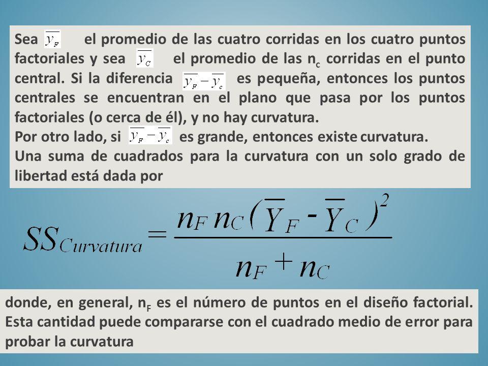 Sea el promedio de las cuatro corridas en los cuatro puntos factoriales y sea el promedio de las n c corridas en el punto central. Si la diferencia es