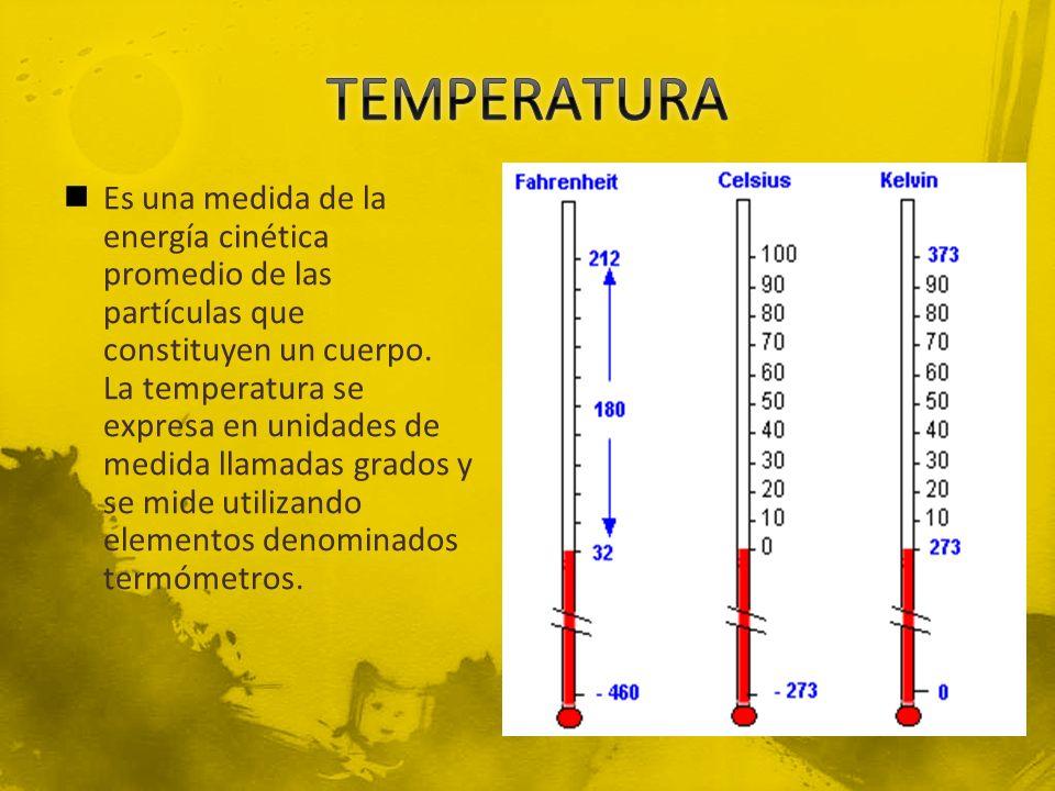 Es una medida de la energía cinética promedio de las partículas que constituyen un cuerpo. La temperatura se expresa en unidades de medida llamadas gr