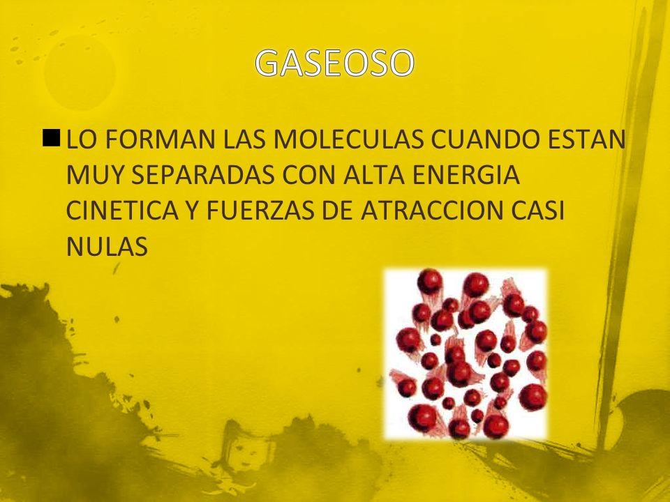 LO FORMAN LAS MOLECULAS CUANDO ESTAN MUY SEPARADAS CON ALTA ENERGIA CINETICA Y FUERZAS DE ATRACCION CASI NULAS