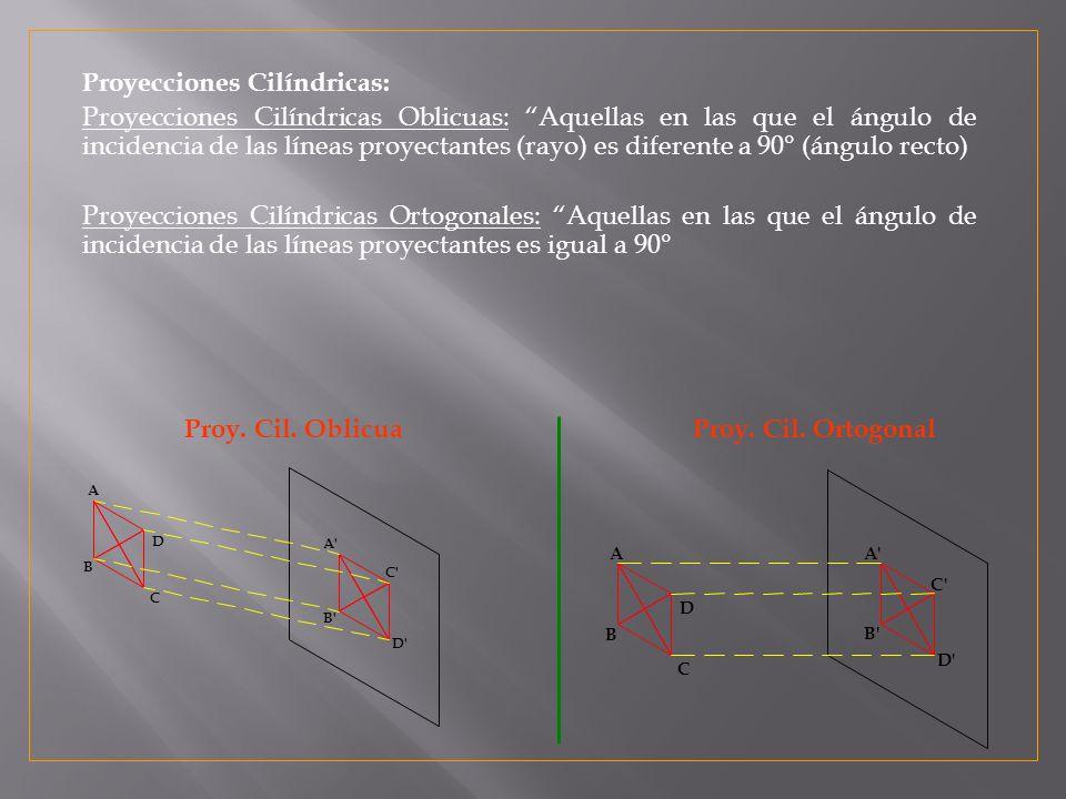 C B C B D A D A A B C D B C D Proyecciones Cilíndricas: Proyecciones Cilíndricas Oblicuas: Aquellas en las que el ángulo de incidencia de las líneas proyectantes (rayo) es diferente a 90° (ángulo recto) Proyecciones Cilíndricas Ortogonales: Aquellas en las que el ángulo de incidencia de las líneas proyectantes es igual a 90° Proy.