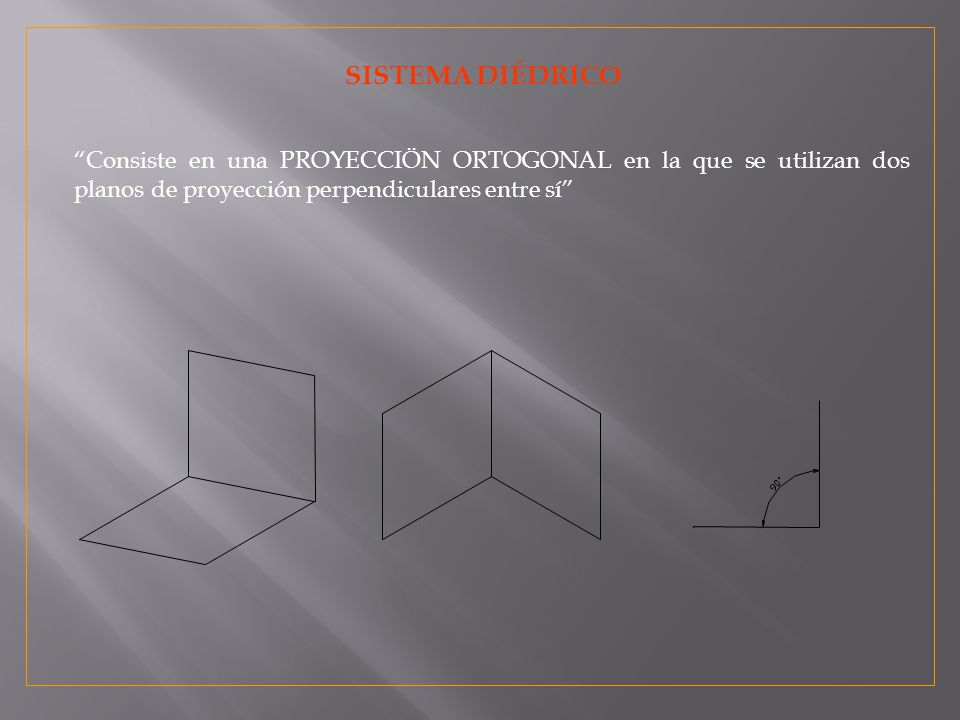 SISTEMA DIÉDRICO Consiste en una PROYECCIÖN ORTOGONAL en la que se utilizan dos planos de proyección perpendiculares entre sí