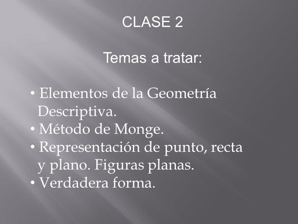 CLASE 2 Temas a tratar: Elementos de la Geometría Descriptiva.