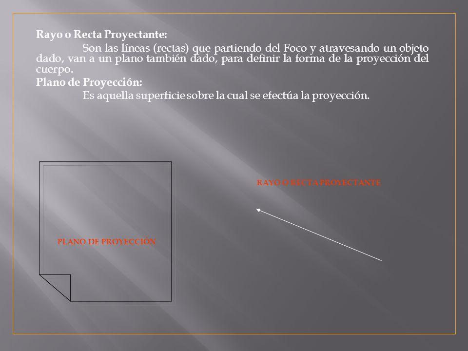 Rayo o Recta Proyectante: Son las líneas (rectas) que partiendo del Foco y atravesando un objeto dado, van a un plano también dado, para definir la forma de la proyección del cuerpo.